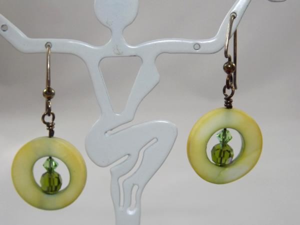 E-40 Yellow Mother of Pearl & Crystal Earrings