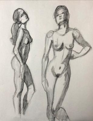 Two Standing Nude Gestures