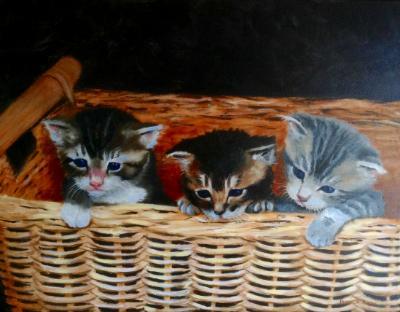 Basket babies 16x20 canvas in oils