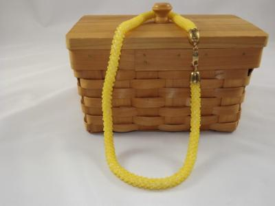 N-75 Matte Golden Yellow Crocheted Rope Necklace