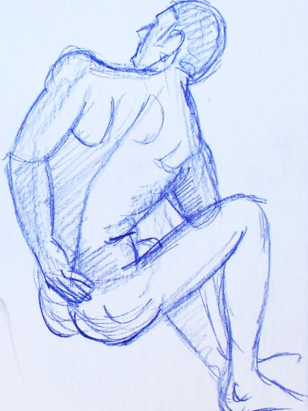 Seated Male Nude, Rear View