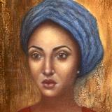 Woman in Blue Turban