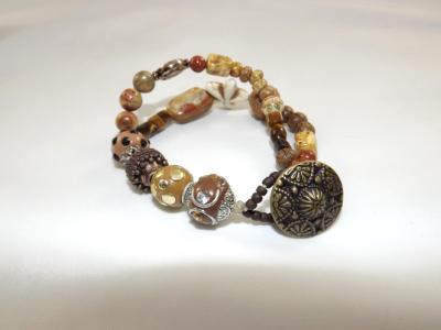 B-144 Shades of Brown Double Strand Chunky Bracelet