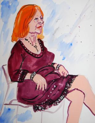 Barbara, Seated (Gouache)