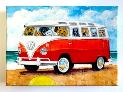 BUSLOAD OF DOGS ON THE BEACH