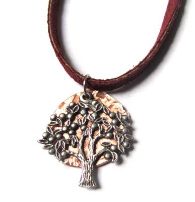 Tree of Life small pendant necklace with hammered copper on leather cord