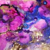 Abstract alcohol ink art gold leaf