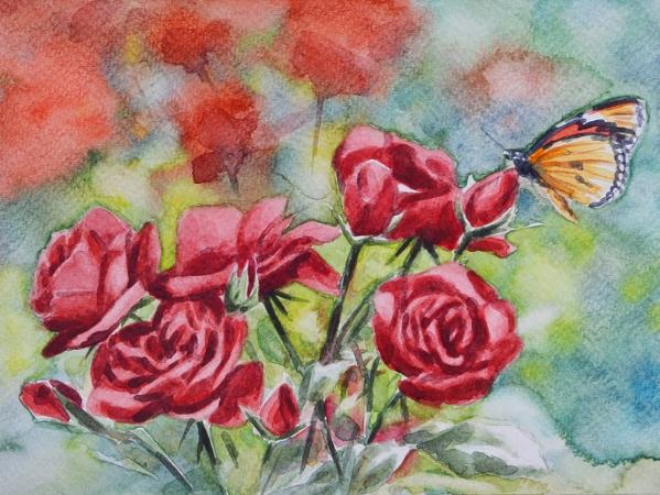 Red roses and butterfly, 35cm x 50cm, 2018