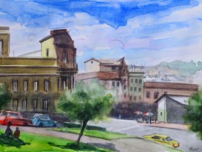 Plein air watercolor urban depiction, 35cm x 25cm, 2018
