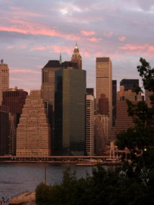 Manhattan Skyline (Pink Sky)