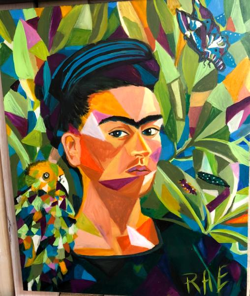 Frida in cubes with parrot