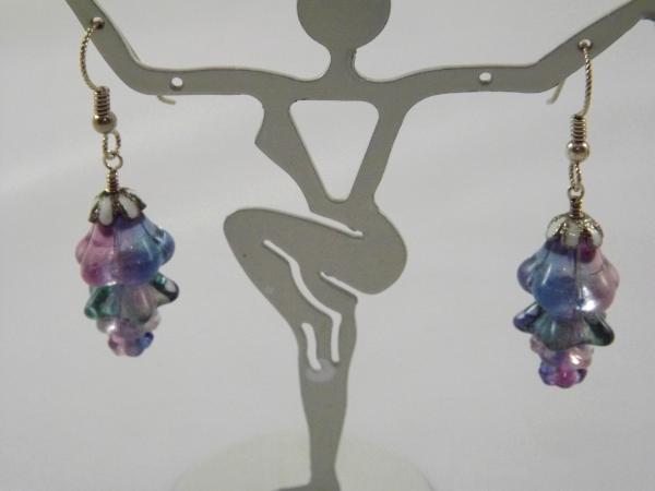 E-14 Purple & Pink Flower Earrings