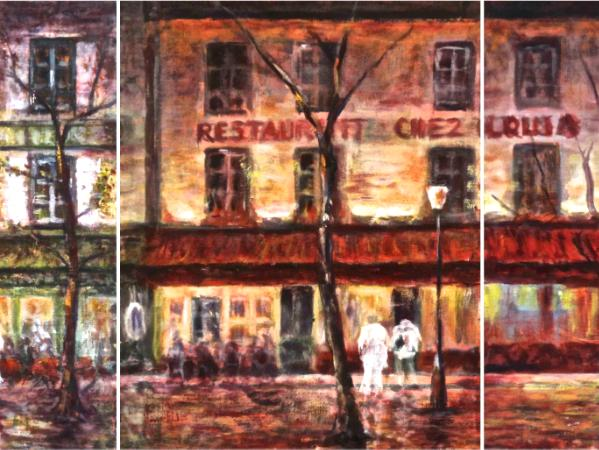Study for Nighttime in Montmartre - Triptych - SOLD