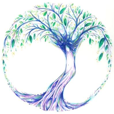 Tree of Life art ~ pigment coloured pencil and ink 6.5 x 6.