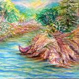 River Landscape with Kayak