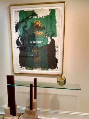 Stone,wood and glass console table, Palm Beach FL