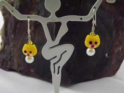 E-81 Yellow Cat Earrings