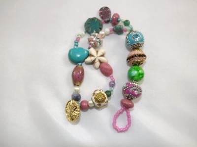 B-160 Pink & Aqua Chunky Bracelet