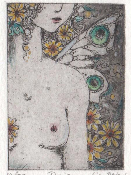Fairy Etching limited edition Daisy Fairy etching original hand made art