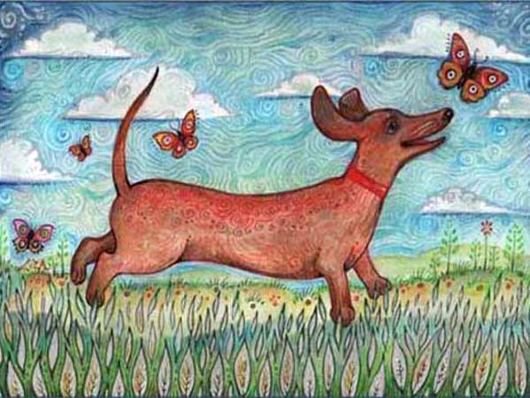 Dachshund dog painting