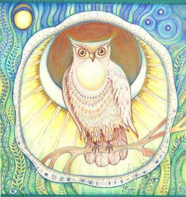 Moon Owl original Folk Art drawing by Liza Paizis