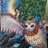 Owl under Crescent Moon
