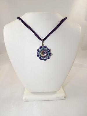 N-79 Swarovski Rivoli Crystal with Purple Silk Ribbon