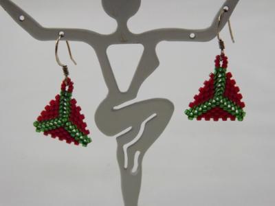 E-73 Green & Red Beaded Triangle Earrings