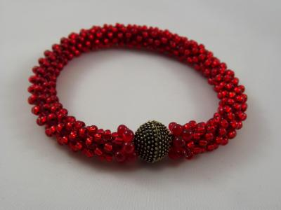 B-29 red crocheted rope bracelet