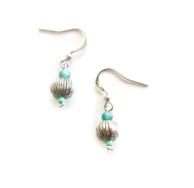 Blue bead silver tone earrings