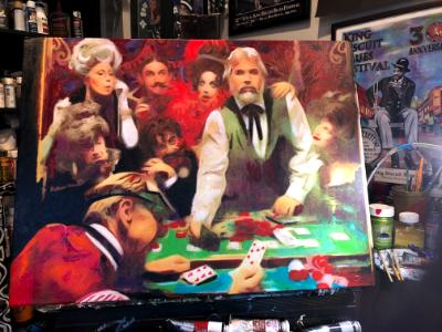 Kenny Rogers the Gambler in oils