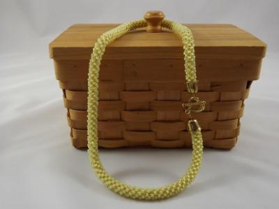 N-73 Pale Yellow Crocheted Rope Necklace