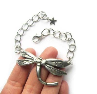 Art Nouveau Dragonfly bracelet statement jewelry dragonfly bangle