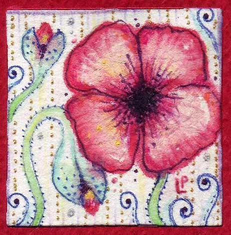 Red Poppies  miniature original Art Nouveau painting