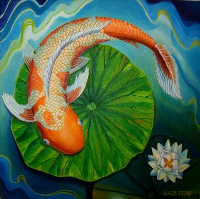 Orange Koi Lotus