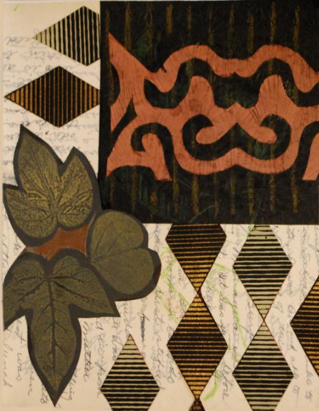Collage With Leaves and Stripes