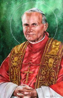 Watercolor portrait of Pope JOHN PAUL II, 80cm x 60cm, 2013