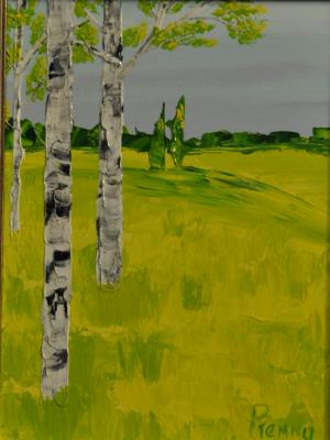 Birches 9 x 12 Acrylic on Canvas board Embellished prints available