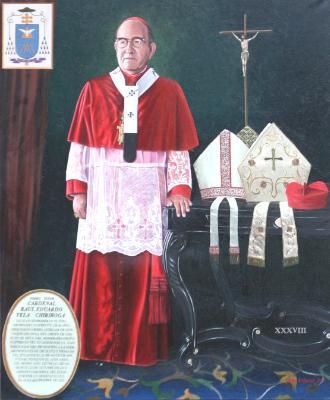 Oil portrait of Cardinal RAUL VELA, 196cm x 126cm, 2014