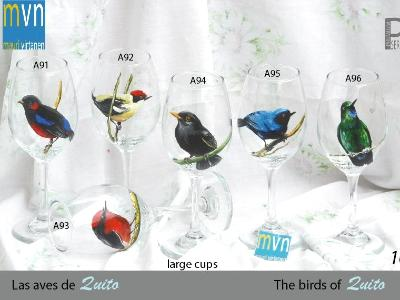 Set of handpainted glasses: BIRDS OF QUITO