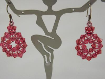 E-7 Pink Swarovski Crystal Medallion Earrings