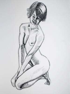 Female Nude, Kneeling