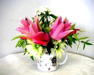 Mug cup floral arrangement