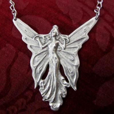 Angel Fairy pendant necklace Art Nouveau style