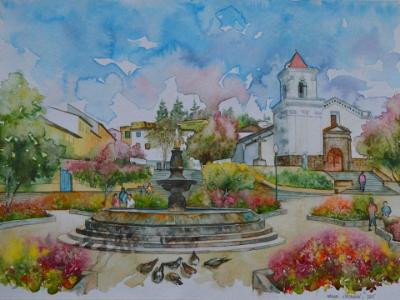 San Blas square and church, 80cm x 60cm, 2015