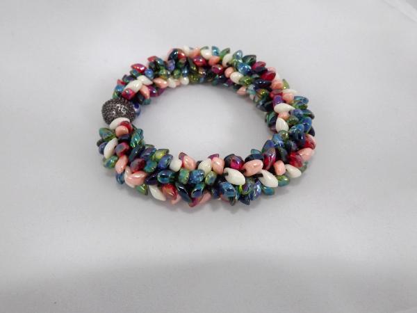 B-62 ivory, red, blue, dark green, & lime AB spikey bracelet