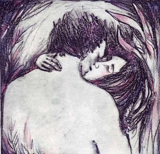 Kiss Limited Edition Romantic Etching of Lovers with solar plate