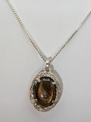 Sterling Silver and Orange Labradorite