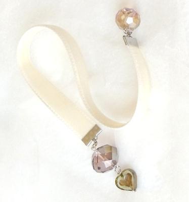 velvet bookmark czech glass heart
