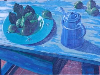 Painted table with figs